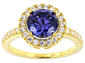 Pre-Owned Blue and White Cubic Zirconia 18k Yellow Gold Over Sterling Silver Ring 3.88ctw
