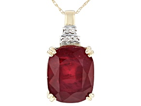Pre-Owned Red Mahaleo® Ruby 10k Yellow Gold Pendant With Chain 7.18ctw