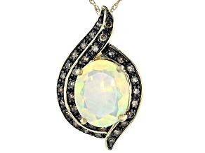 Pre-Owned Multi Color Ethiopian Opal 14k Yellow Gold Pendant With Chain 1.51ctw
