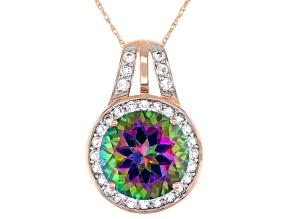 Pre-Owned Green Mystic Fire® Topaz 10k Rose Gold Pendant With Chain 5.79ctw