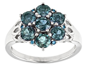 Pre-Owned Blue Lab Created Alexandrite Rhodium Over Sterling Silver Ring. 1.52ctw