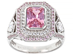 Pre-Owned Pink And White Cubic Zirconia Rhodium Over Sterling Silver Ring 4.03ctw