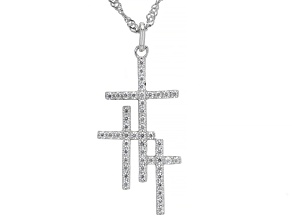 Pre-Owned White Cubic Zirconia Rhodium Over Sterling Silver Triple Cross Pendant With Chain 0.78ctw