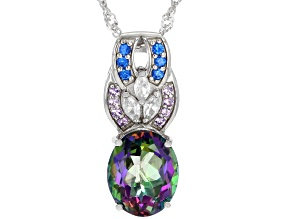 Pre-Owned Green Mystic Fire(R) Topaz Rhodium Over Silver Pendant With Chain 4.72ctw