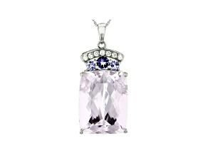 Pre-Owned Pink Kunzite Rhodium Over 14k White Gold Pendant With Chain 23.06ctw