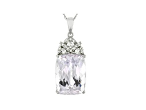 Pre-Owned Pink Kunzite Rhodium Over 14k White Gold Pendant With Chain 12.42ctw