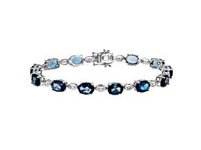 Pre-Owned London Blue Topaz Rhodium Over 14k White Gold Bracelet 18.16ctw