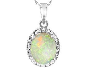 Pre-Owned Multi-Color Australian Opal Rhodium Over 14k White Gold Pendant With Chain 1.60ctw
