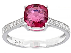 Pre-Owned Pink Rubellite Rhodium Over 14k White Gold Ring 1.42ctw
