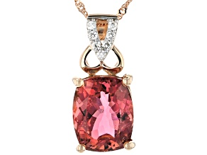 Pre-Owned Pink Tourmaline 14k Rose Gold Pendant With Chain 2.51ctw