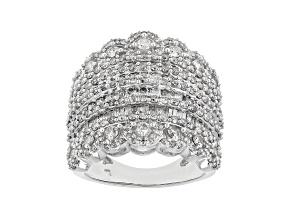 Pre-Owned Diamond 10k White Gold Multi-Row Ring 2.59ctw
