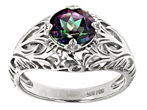 Pre-Owned Green Mystic Fire Topaz Rhodium Over Sterling Silver Solitaire Ring 2.00ct