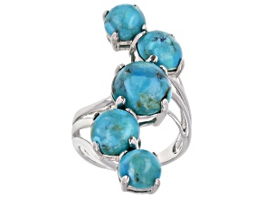 Pre-Owned Blue Turquoise Rhodium Over Sterling Silver 5-Stone Ring