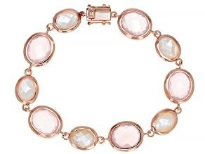 Pre-Owned Pink Rose Quartz 18k Rose Gold Over Sterling Silver Tennis Bracelet