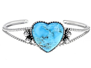 Pre-Owned Girls Turquoise Rhodium Over Sterling Silver Heart Bracelet
