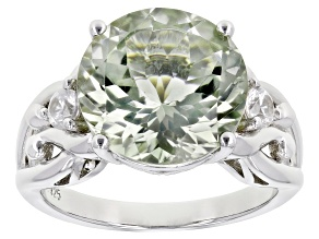 Pre-Owned Green Prasiolite Rhodium Over Sterling Silver Ring. 5.53ctw