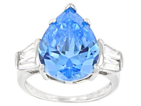 Pre-Owned Blue And White Cubic Zirconia Rhodium Over Sterling Silver Ring 13.45ctw