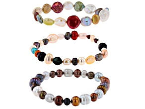 Pre-Owned Multi-Color Cultured Freshwater Pearl Stretch Bracelet Set of 3