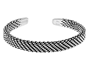 Pre-Owned Sterling Silver Oxidized Cuff Bracelet
