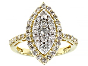 Pre-Owned White Diamond 10k Yellow Gold Cluster Ring 1.00ctw
