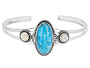 Pre-Owned Turquoise & Opal Rhodium Over Sterling Silver Cuff Bracelet