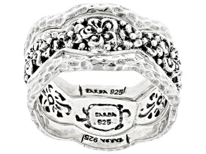 """Pre-Owned Silver """"Sow Into Patience"""" Stackable Set of 3 Rings"""