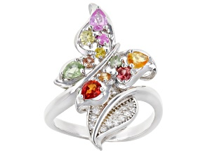 Pre-Owned Multi-Sapphire Rhodium Over Sterling Silver Butterfly/Leaf Ring 1.11ctw