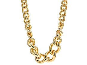 Pre-Owned 18k Yellow Gold Over Bronze Curb Link Necklace 20.5 inch