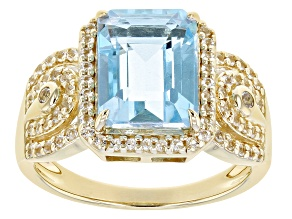 Pre-Owned Sky Blue Topaz 18k Yellow Gold Over Silver Ring 3.78ctw