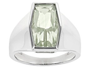Pre-Owned Green Prasiolite Rhodium Over Sterling Silver Solitaire Ring 3.14ct