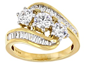 Pre-Owned White Cubic Zirconia 18K Yellow Gold Over Sterling Silver Ring 2.80ctw