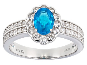 Pre-Owned Blue neon apatite sterling silver ring 1.77ctw