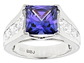 Pre-Owned Blue and White Cubic Zirconia Platinum Over Silver Ring