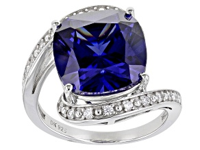 Pre-Owned Blue And White Cubic Zirconia Rhodium Over Sterling Silver Ring 6.21ctw