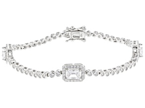 Pre-Owned White Cubic Zirconia Rhodium Over Silver Bracelet 6.65ctw