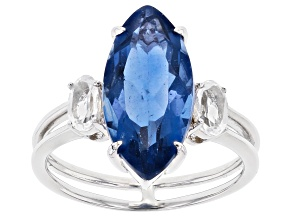 Pre-Owned Blue Color Change Fluorite Rhodium Over Sterling Silver 3-Stone Ring 4.31ctw