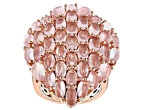 Pre-Owned Pink Rose Quartz 18k Rose Gold Over Sterling Silver Ring