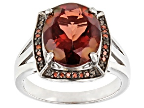 Pre-Owned Red Labradorite Rhodium Over Sterling Silver Ring 3.59ctw