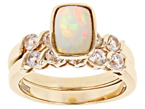 Pre-Owned Multi-Color Ethiopian Opal With White Zircon 18k Yellow Gold Over Sterling Silver Ring Set