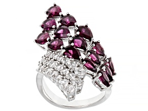 Pre-Owned Purple Rhodolite Rhodium Over Sterling Silver Ring 6.79ctw