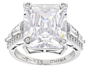Pre-Owned White Cubic Zirconia Rhodium Over Sterling Silver Ring 13.86ctw