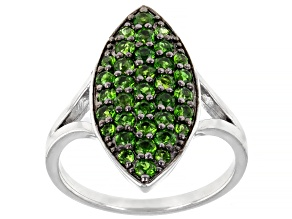 Pre-Owned Green Russian Chrome Diopside Rhodium Over Sterling Silver Ring 1.02ctw