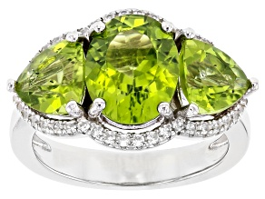Pre-Owned Green Peridot Rhodium Over Sterling Silver Ring 4.90ctw