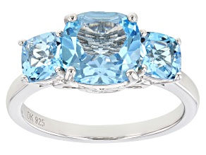 Pre-Owned Blue Topaz Rhodium Over Sterling Silver Ring 3.66ctw