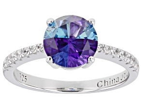 Pre-Owned Multi Color Cubic Zirconia Rhodium Over Sterling Silver Ring 2.65ctw