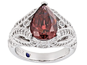 Pre-Owned Pink And White Cubic Zirconia Platineve Ring 5.42ctw