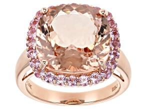 Pre-Owned Peach morganite 14k rose gold ring 9.27ctw