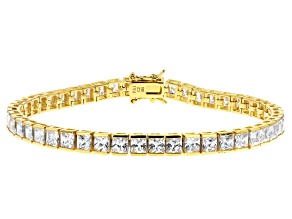 Pre-Owned White Cubic Zirconia 18K Yellow Gold Over Sterling Silver Tennis Bracelet 17.28ctw
