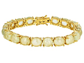 Pre-Owned Green prehnite 18k yellow gold over silver tennis bracelet.