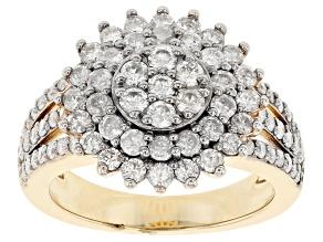 Pre-Owned White Diamond 3k Gold Cluster Ring 1.35ctw